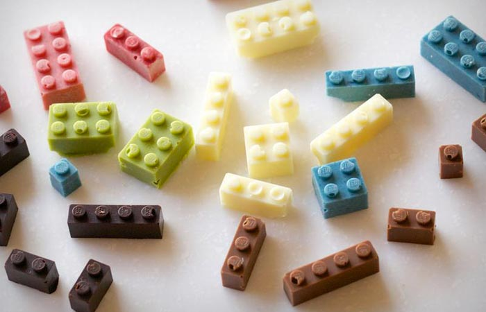 Chocolate lego in different colors