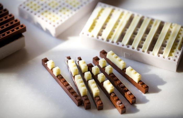 Edible lego made of chocolate