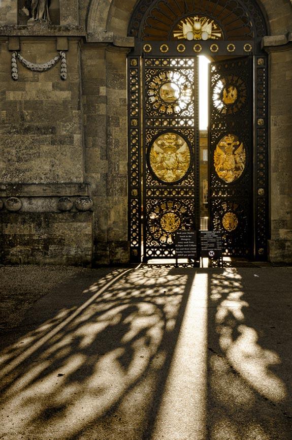 Sunlight through ancient door