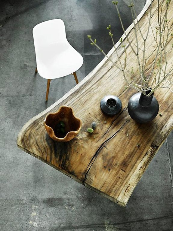 Wooden table from above