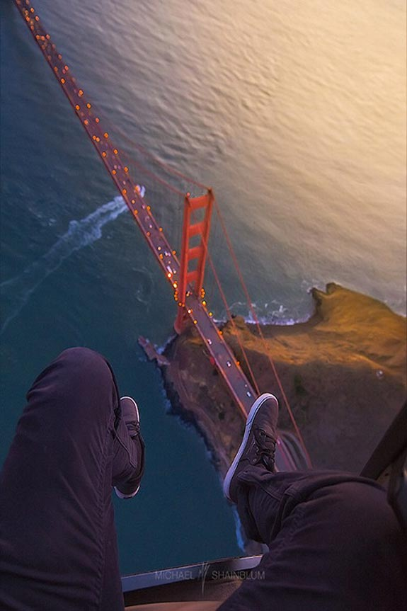 Adrenaline junkie with a view of the Golden Gate Bridge