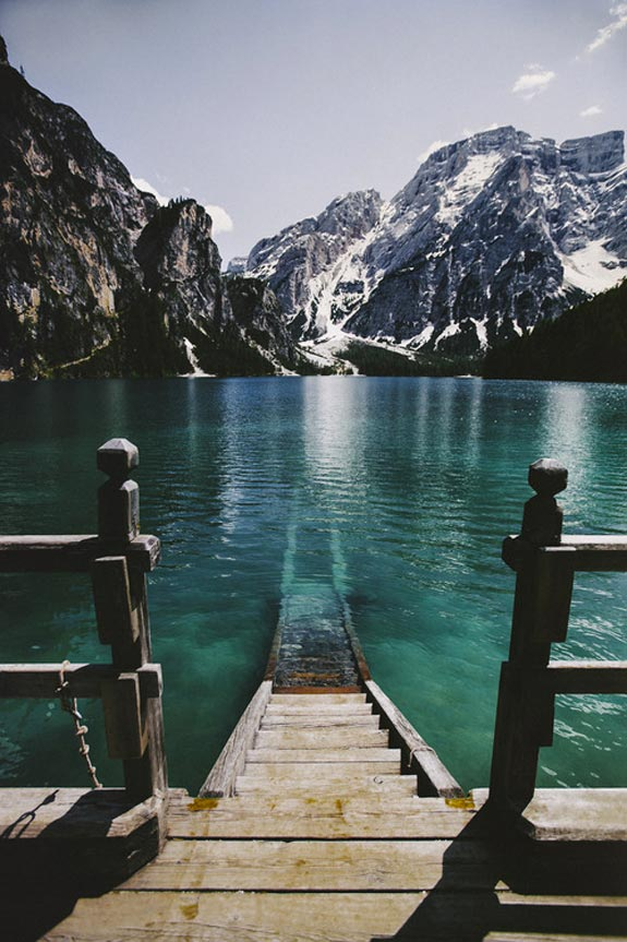 Stairs leading to a lake in Italy