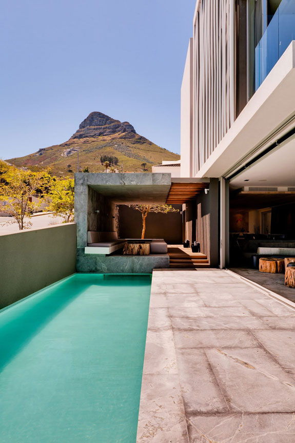 Outdoor pool of a modern architecture
