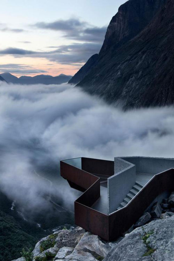Massive stairs on foggy mountains