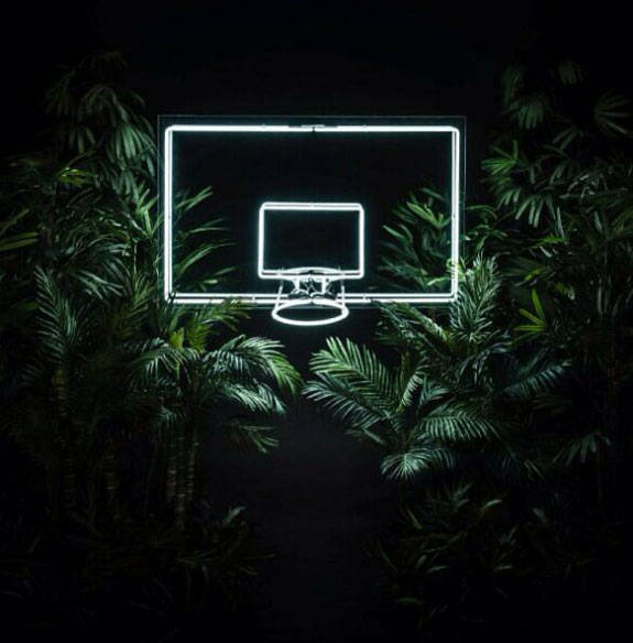 Led lights outlined basketball board in nights