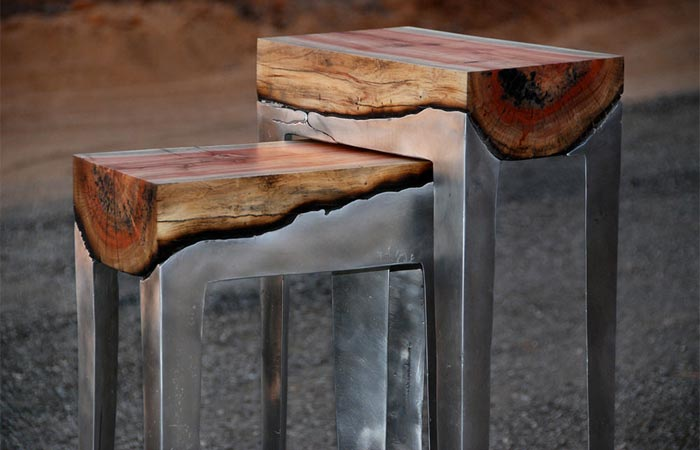 Wood casting side table