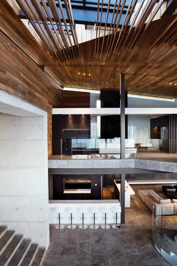 Interior design modern concrete and wood