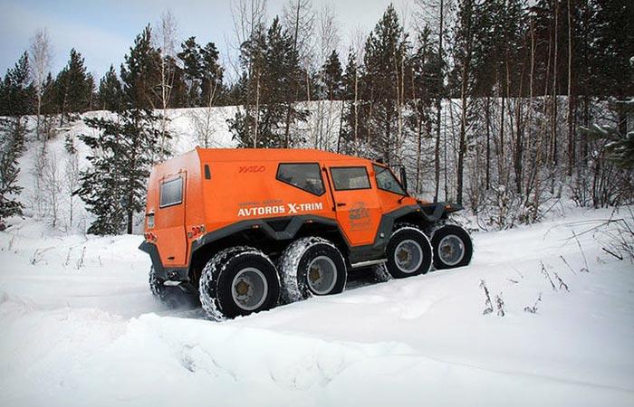 Avtoros Shaman 8x8 ATV in the snow