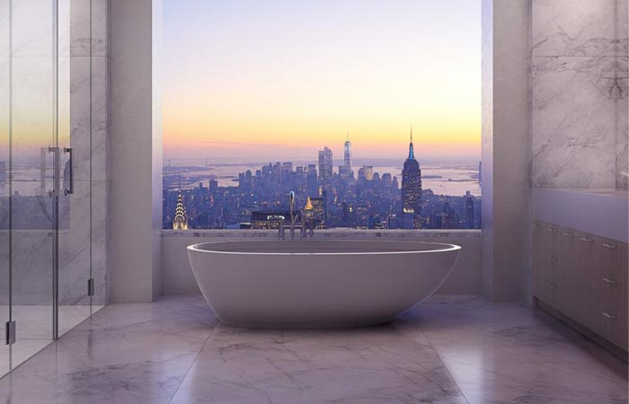 432 Park Avenue bathtub with a view of NYC