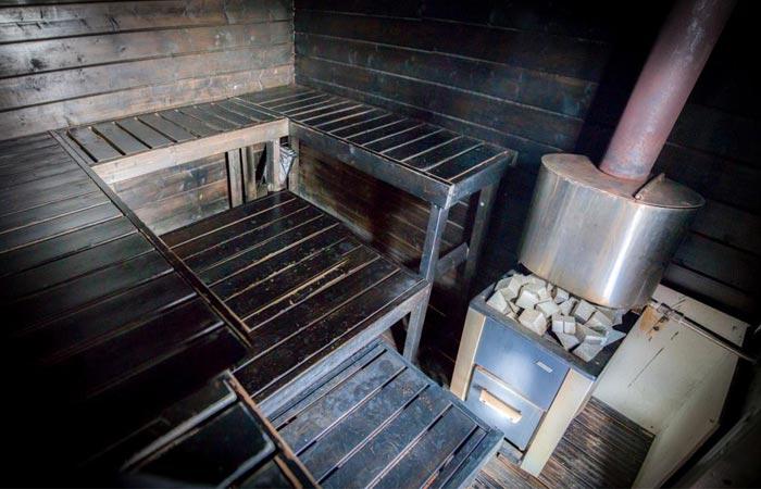 Sauna room in the Finnish floating sauna