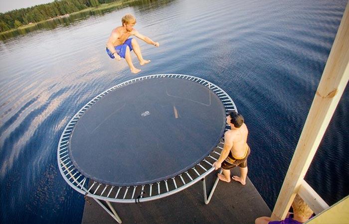 Trampoline on the Finnish floating sauna
