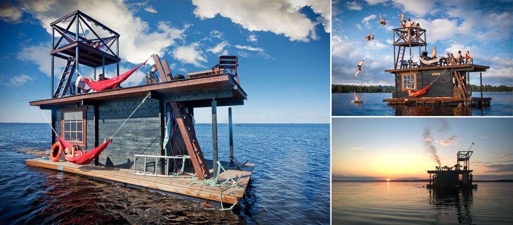 Finnish floating sauna
