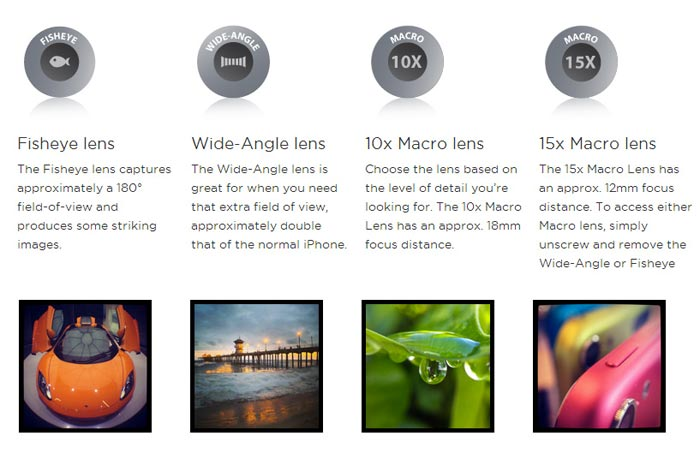 Olloclip 4-in-1 photo lens details and specifications