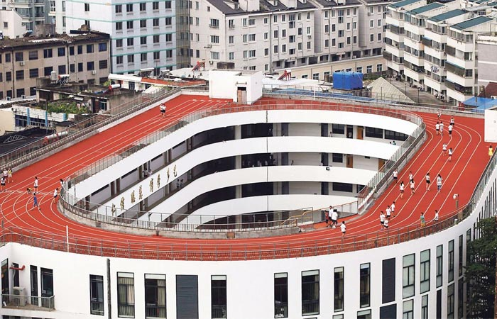 track and field on top of a school in China
