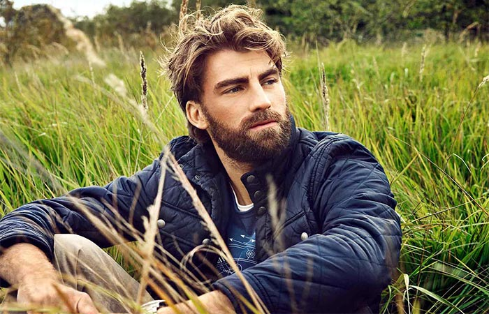 A Guy With Beard Sitting Outside On The Grass