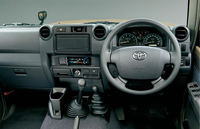 Interior of the Toyota Land-Cruiser 70 Series re-release