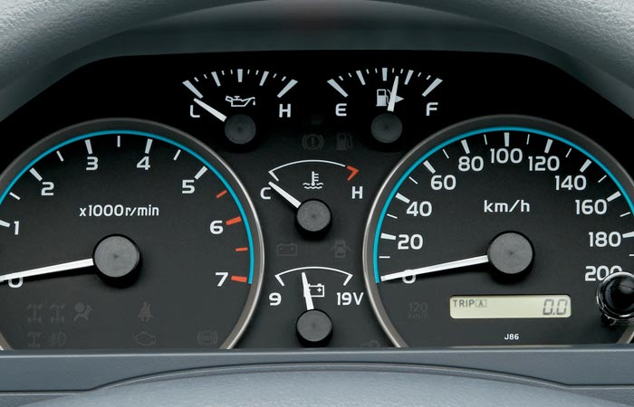 Instrument panel of the Toyota Land-Cruiser 70 Series re-release