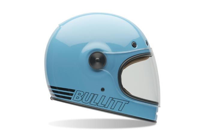 Baby blue Bell Bullitt motorcycle helmet