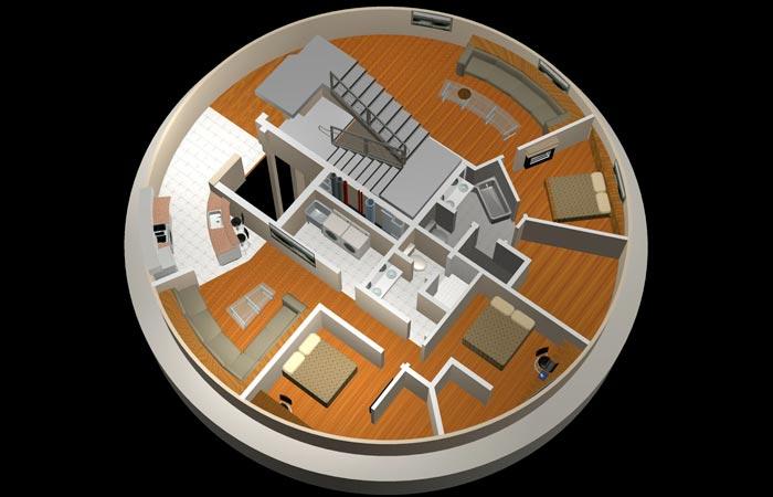 Floor plan of a survival condo unit