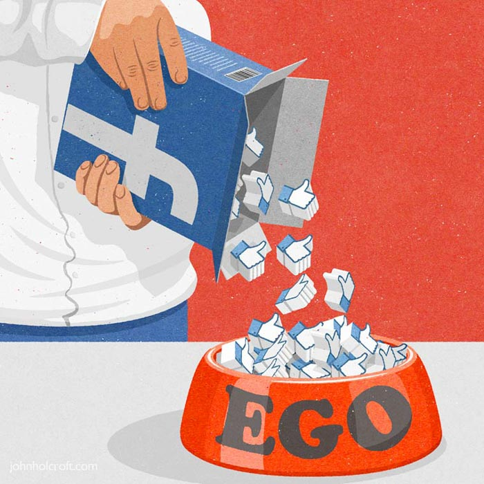 Ego and Facebook likes satire