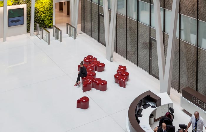 Tame collection ceramic seats in the reception of a hotel