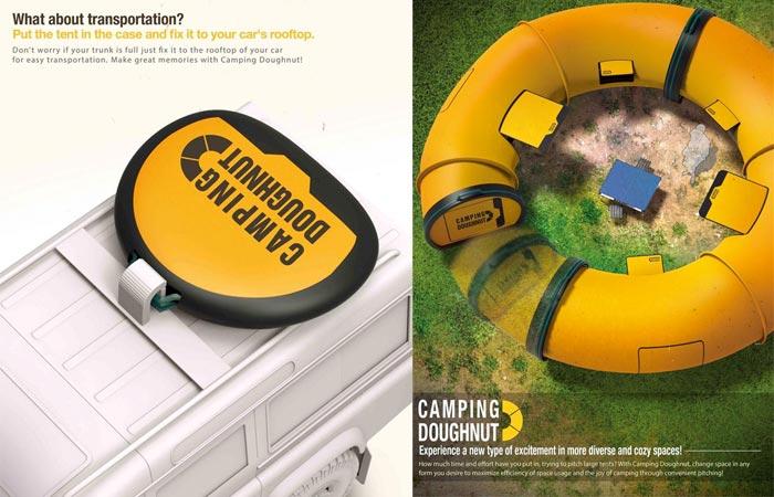 Camping doughnut tent