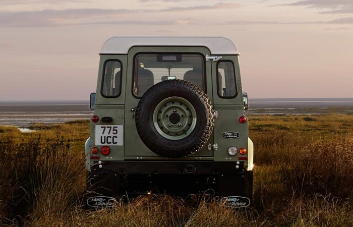 Rear view of the The Heritage Land Rover Defender Celbration Series