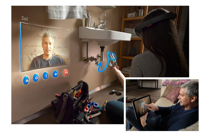 Microsoft Hololens with video call capabilities