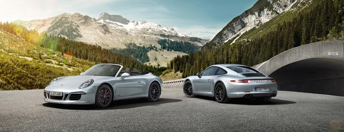 Silver Porsche 911 Targa 4 GTS