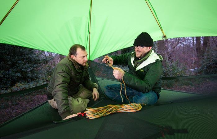Inside a tree tent