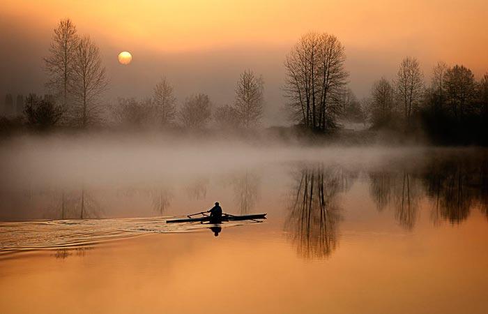 Man rowing on a lake