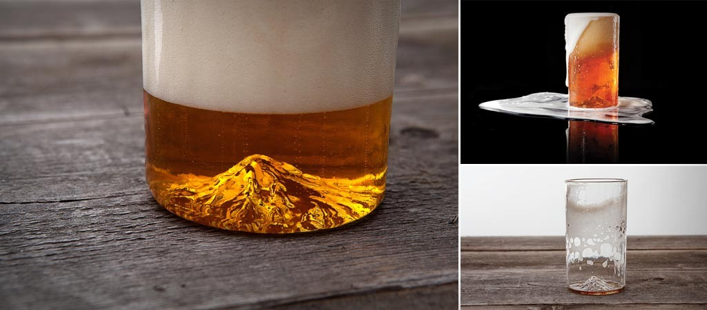 North Drinkware 3D mountain pint glass