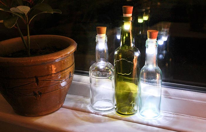 LED Bottle Lights in colored bottles