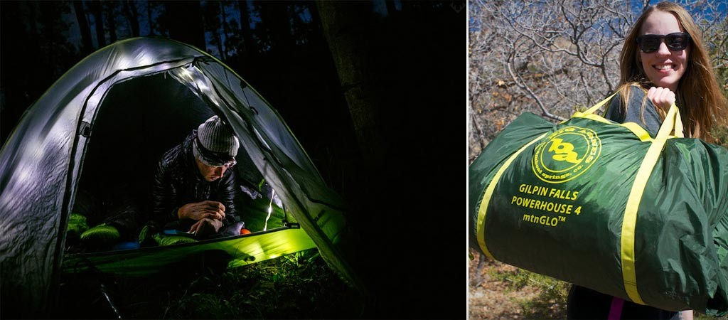 Big Agnes Gilpin Falls Powerhouse 4 mtnGLO tent with LED and power supply
