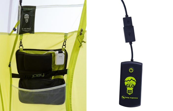 Power supply and LED light switch in a Big Agnes tent