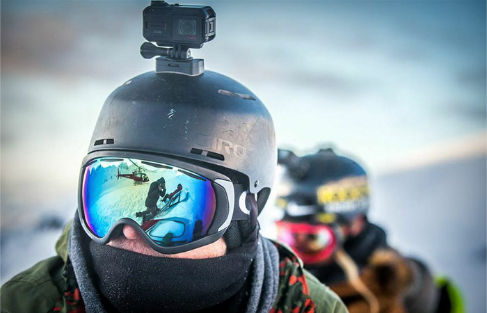 Garmin Virb mounted on a helmet