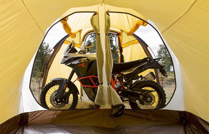 Atacama Expedition Motorcycle Tent sleeping quarters