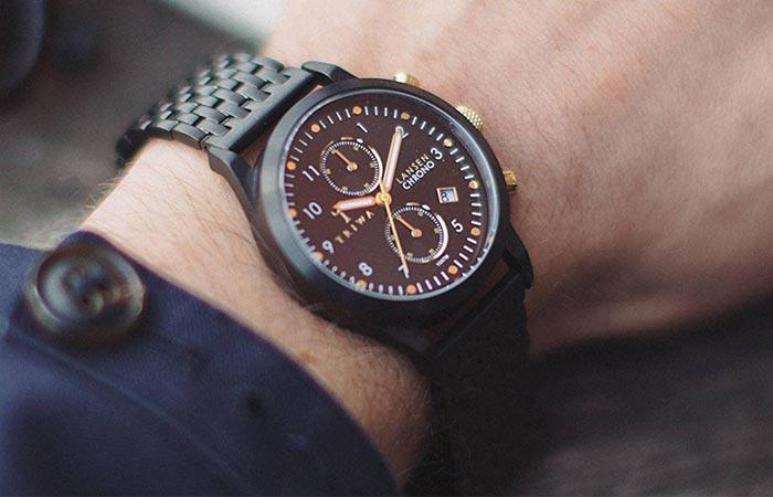 Triwa Unisex Midnight Lansen Chrono Black Bracelet Watch style