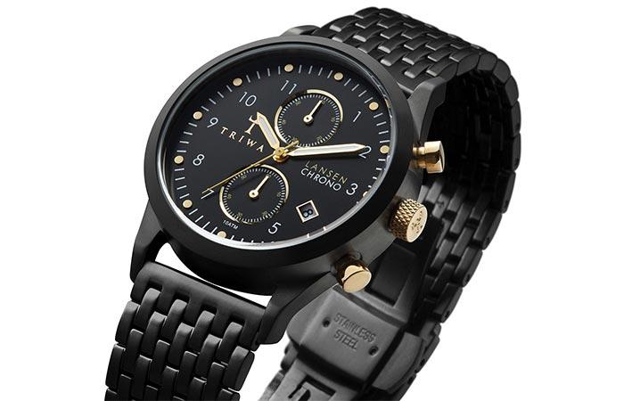 Triwa Unisex Midnight Lansen Chrono Black Bracelet Watch color combo