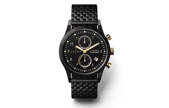 Triwa Unisex Midnight Lansen Chrono Black Bracelet Watch materials