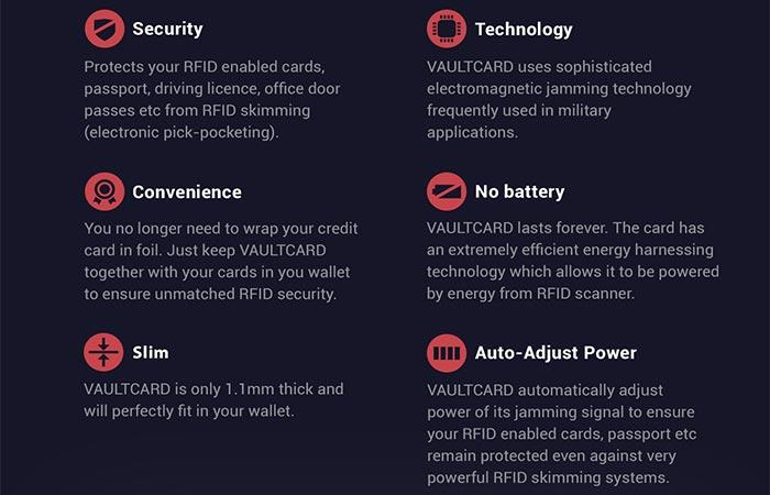 VaultCard features
