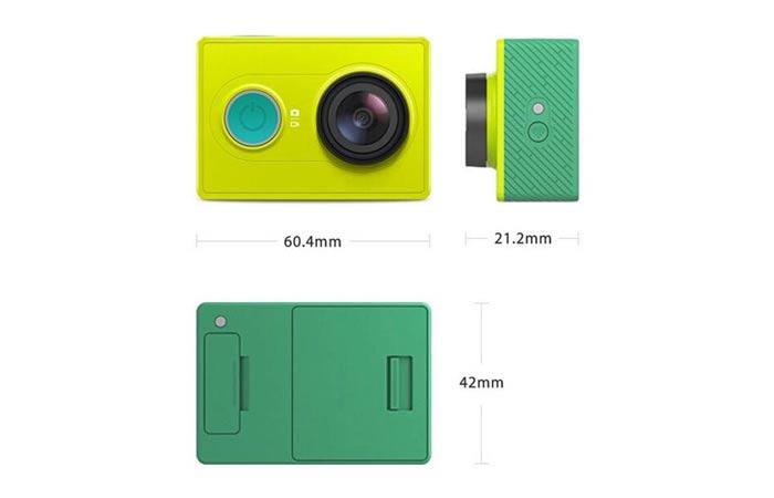 Xiaomi Yi Ambarella A7LS action camera dimension