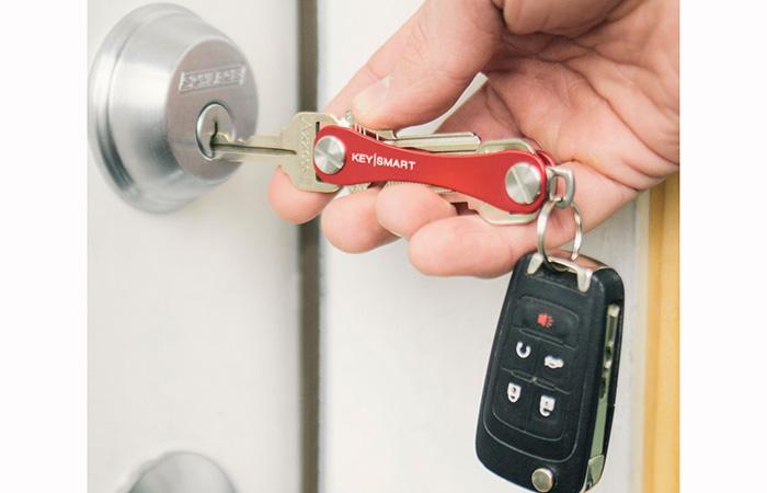 Unlocking the door with KeySmart