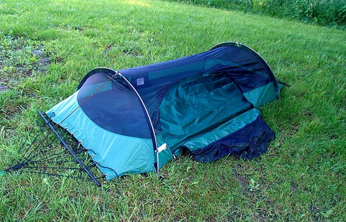 Lawson Blue Ride Tent And Hammock In-One ground setup