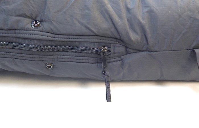 Zipper on the Us Military sleeping bag