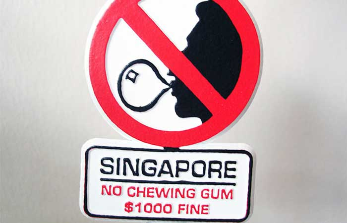 No chewing gum sign in Singapore