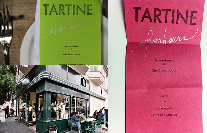 Tartine Afterhours dinner menu green and pink and entrance to Tartine Bakery
