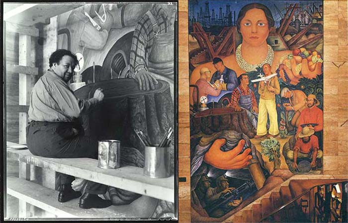 Diego Rivera making Allegory of California at the Pacific Stock Exchange Club