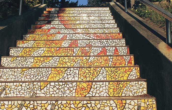 Moraga St & 16th Avenue mosaic tile orange stairs