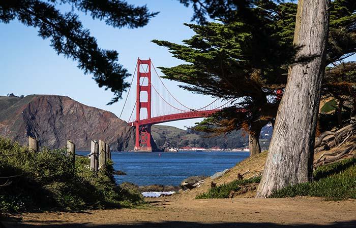 Lands End Trail view on Golden Gate Bridge